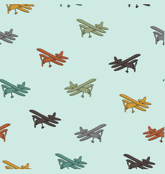 Retro planes in different trendy colors seamless vector