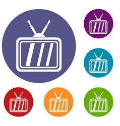 Retro tv icons set vector