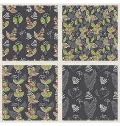 Scandinavian floral pattern set vector