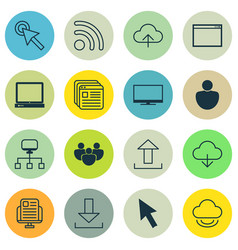 Set of 16 internet icons includes mouse wifi vector