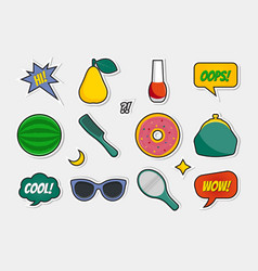 set of fashion stickers vector image vector image
