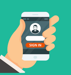 sign in on smartphone - user icon and password vector image