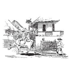Street traffic in manila vintage vector