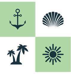 Sun icons set collection of conch sunny vector