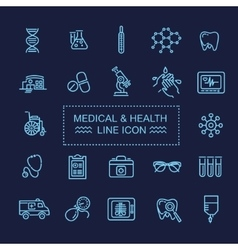 Thin lines web icon set - medicine and health vector