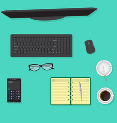 Top view of office desk background including vector
