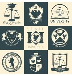 University heraldry vintage stickers vector