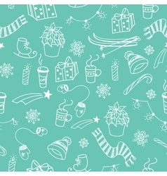 Winter doodles seamless pattern vector