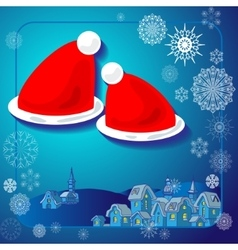 Winter in the village Santa hats vector image vector image