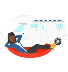 Woman lying in hammock vector