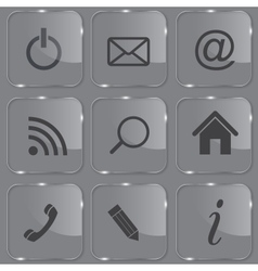 Set of shiny glass web buttons vector