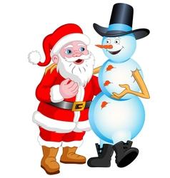 Santa and Snowman Talking vector image