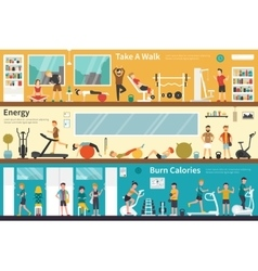 Take a walk energy burn calories flat interior vector