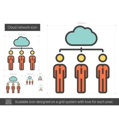 Cloud network line icon vector