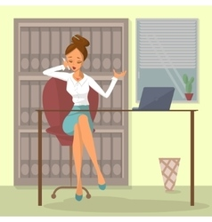 Business woman talks on phone vector