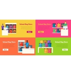 School bag store set seller at the counter vector