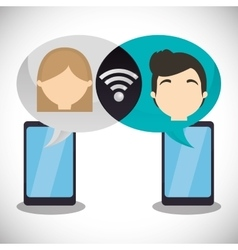 Couple smartphone wifi internet chatting vector