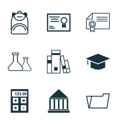 set of 9 school icons includes library vector image