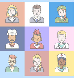 linear flat people faces and professions vector image
