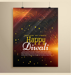 Beautiful happy diwali flyer template with vector