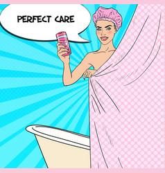 woman in bathroom with shower gel pop art vector image