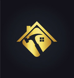 Home renovation tool gold logo vector