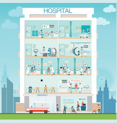 Hospital building exterior with doctor and vector
