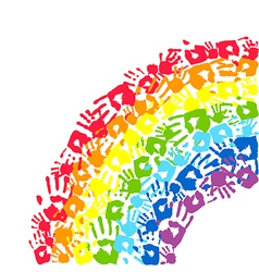 Rainbow made from hands vector