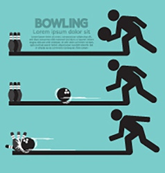 Steps of playing bowling symbol vector