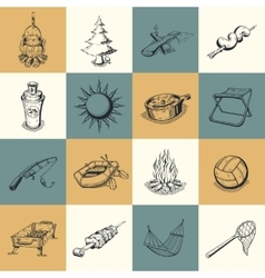 Set of different camping icons vector