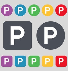 Parking icon sign a set of 12 colored buttons flat vector