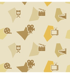 Seamless background with cinema symbols vector