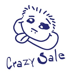 Crazy sale with funny human head vector