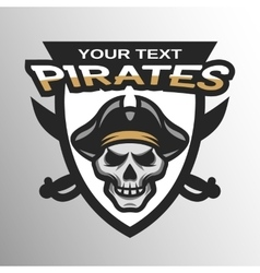 Pirate skull and sabers badge emblem vector