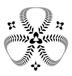 Laurel wreath tattoo clover trefoil view sign vector