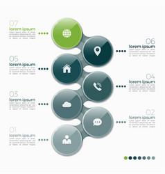 7 option infographic design with ellipses vector image