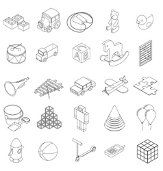 Children toys icons set isometric 3d style vector