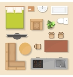 Set top view for interior icon design isolated vector