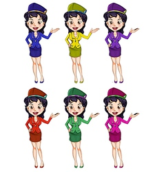 An air hostess with different uniforms vector image