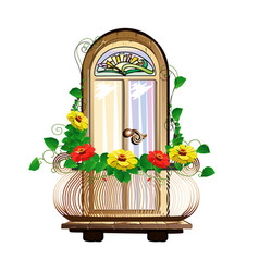 Balcony with flowers and stained glass vector