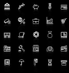 Banking and financial line icons with reflect on vector