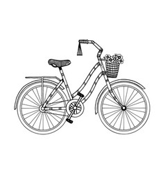 bicycle engraving style vector image