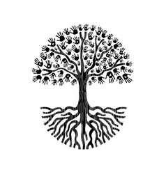 black and white hand tree isolated vector image vector image