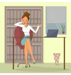 Business woman talks on phone vector