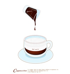 Cappuccino Coffee Drink in A Glass Cup vector image