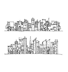 cartoon hand drawing city vector image