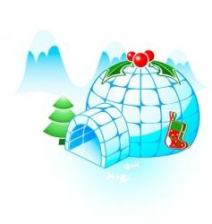 Christmas igloo vector