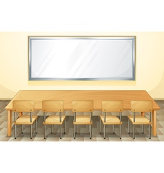 Classroom with whiteboard and chairs vector