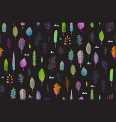 Colorful leaves nature seamlees pattern on black vector