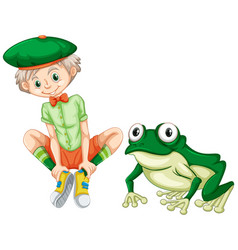 cute boy and green frog vector image